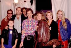 This is a pretty rare photo! Micheal Douglas, Don Gummer, Mick Jagger, Barbra Streisand, Meryl Streep (and her son, Henry Gummer) and Jerry Hall ~ Backstage at a Rolling Stones concert - 1989