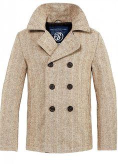 Brandit Men s Pea Coat Beige Herringbone at Amazon Men s Clothing store  976c01986f71
