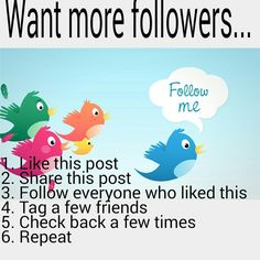 Follow game I need your help to reach more followers. Like this post. Share this post. Follow everyone who liked this. Tag a few friends. Check back a few times. Repeat. Everybody benefits. Thanks in advance. Follow the rules. Other