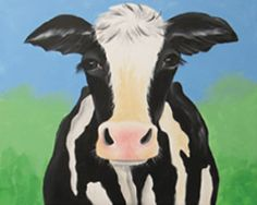 """""""Bessie"""" Social Artworking Canvas Painting Design -- Farmhouse style is a popular trend and our cow, Bessie, is quite the trendsetter. Her soulful eyes would look so welcoming hanging in a kitchen or entryway. CANVAS SIZE:  16"""" x 20"""" TIME TO PAINT:  approximately 2 hours 30 minutes TECHNIQUES INCLUDE: blending background colors, ombre effect for skin/hide coloration, adding detail"""