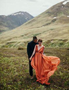 Fall Alaskan Anniversary in a custom orange gown by Leanne Marshall
