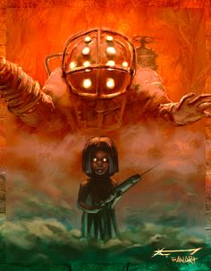 Bioshock Artwork, Bioshock 1, Bioshock Series, Bioshock Infinite Elizabeth, Fanart, Big Daddy, Amazing Pics, Cool Cartoons, Game Art