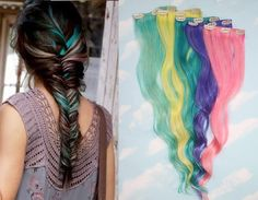 Valentine's Day Hair, Colored Hair Extensions, Free People Inspired Colored Fishtail Braid, Human Hair, Turquoise Hair, Pink Hair on Etsy, $159.76 CAD