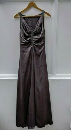 Hobbs Silk Evening Dress Long Beaded Grey/Brown Lined Size 8 Brown Line, Brown And Grey, Evening Dresses, Formal Dresses, Hobbs, Dress Long, Ball Gowns, Special Occasion, Party Dress