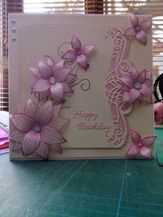 Beautiful card sympathy get well - Geprägte karten Birthday Cards For Women, Handmade Birthday Cards, Greeting Cards Handmade, 70th Birthday Card, Happy Birthday Cards, Chloes Creative Cards, Stamps By Chloe, Embossed Cards, Heartfelt Creations