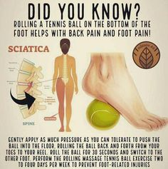 Do you know this? The tennis ball presses and treats trigger points in the piriformis muscle, reduces the muscle tension and rigidity, improves mobility and improves blood circulation to the area.The tennis ball therapy is good not only for sciatica, but Sciatica Exercises, Back Pain Exercises, Foot Exercises, Foam Roller Exercises, Posture Exercises, Exercise For Back Pain, Ankle Mobility Exercises, Lower Back Pain Stretches, Lower Right Back Pain