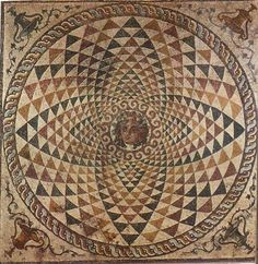 Mosaic floor from a roman villa of ancient Corinth,  showing Dionysos in the center.