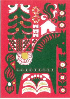 horse with birds flowers house trees green white yellow on red - Marimekko