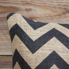 Black Chevron Burlap Pillow.