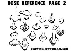 Cartoon Noses Reference Sheets and Examples for Drawing Practice