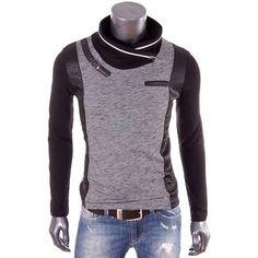 T-shirts manches longues Damon Carisma - T-Shirt noir et gris slim fit stretch homme col zippé Noir - Vêtements Homme 30,00 €