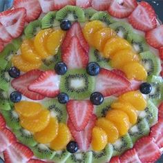 Fruit Pizza. I didn't do the white chocolate...  I just used cream cheese, cool whip, and powdered sugar for the topping.  I also used 3/4 butter, 1/4 shortening.