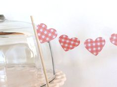 Red Gingham Plaid Paper Heart Garland Cake Bunting by ShastaBlue, $3.00