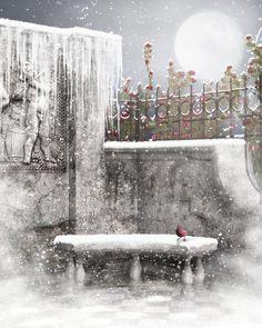 Hiver, Noël : fond pour créa, neige - Winter background