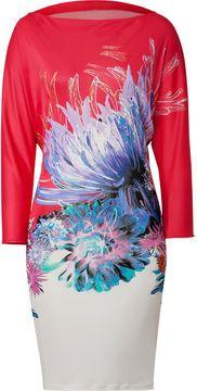 Roberto Cavalli Printed Jersey Dress in White/Fuchsia-Multi on shopstyle.com