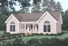 The front porch and large windows give this three bedroom ranch home curb appeal. Ranch House Plan # 341012.