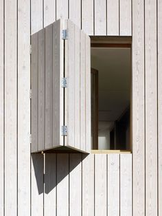 Larch - White stained larch cladding - Hampstead Beach house by Hayhurst and Co. Larch Cladding, House Cladding, Exterior Cladding, Wooden Window Shutters, Wooden Windows, Windows And Doors, Wood Facade, Window Detail, Wood Architecture