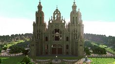 Built by Roi_Louis I'm really proud and happy too present you one of my biggest project: Santiago de Compostella I think this one of the biggest and most detailed cathedral ever build in minecraft lol Minecraft Castle Map, Minecraft Medieval Buildings, Minecraft Bridges, Minecraft Games, Minecraft Architecture, Minecraft Projects, Minecraft Designs, Minecraft Houses, Minecraft Stuff