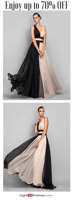 A dress to kill for! Stunning V neck two colour (black and beige) chiffon long dress for Prom / Homecoming / wedding or any other special event! Shop it at just $129.99. Click on the picture to see the sizes.