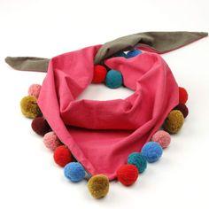 Reversible Pompom Scarf - Pink/ Olive