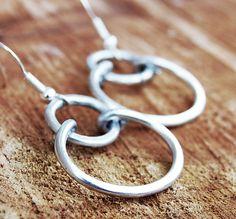 Silver. Aluminum. Double. Hoop. Earrings.