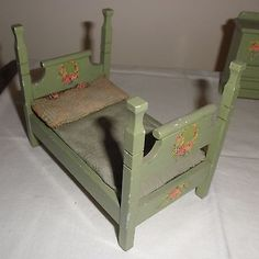 Antique or Vintage Dollhouse Wood Wooden Bedroom Furniture - Made In Germany