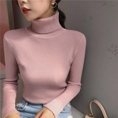Warm Sweaters, Pullover Sweaters, Cardigans, Classy Outfits, Cute Outfits, Turtleneck Outfit, Feminine Style, Knitwear, Turtle Neck