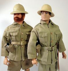 Close up look at the two variations of the Mouth of Doom jacket.  Left is the three pocket variation.  Note the side strap with snap closure where I displayed the canteen.  The right side shows the more common four pocket variation.  It should be noted the three pocket version was also used in the earlier Desert Patrol Jeep as the driver uniform.