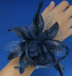 Navy Blue Wrist Corsage Fascinator Fabric, Spotted Organza & Feather Wrist Band Bracelet The Good Life http://www.amazon.co.uk/dp/B00EPDYMJS/ref=cm_sw_r_pi_dp_V4G4tb0G2PN9G