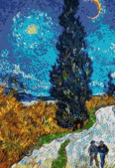 Country road by Van Gogh cross stitch kit or pattern Cross Stitch Love, Cross Stitch Kits, Cross Stitch Designs, Cross Stitch Patterns, Cross Stitching, Cross Stitch Embroidery, Embroidery Patterns, Famous Artists Paintings, Vintage Cross Stitches