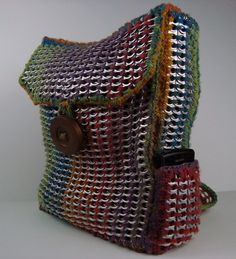 colored crochet backpack | Multi-color Crochet Pop-tab Backpack | designsbysue - Bags & Purses on ...
