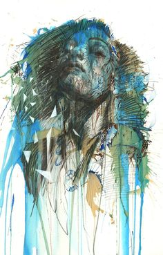 Portraits made from whiskey, vodka, brandy, tea and ink by Carne Griffiths