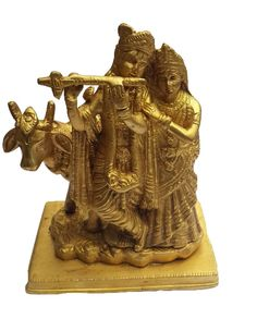<b>Content: </b>Radhe Krishna with Flute and Cow<br> <b>Dimensions: </b>20 cm Height <b>Material: </b>Brass<br>