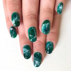 Green Marble ✅ #nailsbymei #handpainted #nailart #nails #green #marble for @blakeyz #meisfavorite #MEIKAWAJI