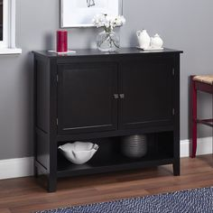 This buffet from Montego will enhance you kitchen or dining area. This buffet features two doors with an adjustable shelf cabinet and open shelf under the cabinet for ease of use.