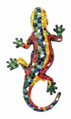 We sell Gaudí-style products and figures by Barcino. Wide variety of Gaudi style products.ideas for mosaic Chameleons Mosaic Garden Art, Mosaic Tile Art, Mosaic Rocks, Mosaic Artwork, Mosaic Crafts, Mosaic Projects, Mosaic Glass, Glass Art, Stained Glass Patterns