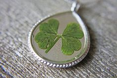 Necklace with Real Four leaf clover Pendant by WhimsicalMai,