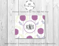 Blue Lavender Floral - DIY Printable Monogram Note Card Template - Add Text, Print, Trim, Fold, Done! Unlimited Personal Prints. PRE.0152 by DIYNotecards on Etsy