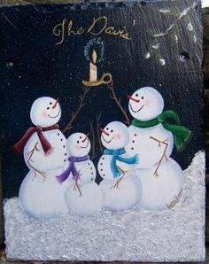 view a larger size of this Candle Light Snowmen Family slate.