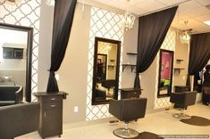Styling stations curtains and background of mirrors... POST YOUR FREE LISTING TODAY! Hair News Network. All Hair. All The Time. http://www.HairNewsNetwork.com