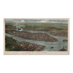 Vintage Pictorial Map of New York City (1879) 3 Print