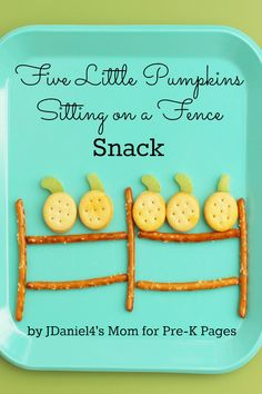 Five Little Pumpkins Snack Activity that your kids will LOVE! Perfect for a preschool or kindergarten classroom!