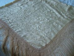 Received: VINTAGE SILK EMBROIDERED PIANO SHAWL - 60"