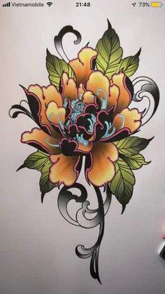 Japanese Flower Tattoo, Japanese Tattoo Designs, Japanese Sleeve Tattoos, Japanese Flowers, Flower Tattoo Designs, Flower Tattoos, Foot Tattoos, Body Art Tattoos, Tattoo Drawings