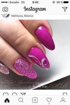 Glitter Gel Nails, Silver Nails, Purple Nails, Colorful Nail Designs, Nail Polish Designs, Nail Art Designs, Magic Nails, Hot Nails, Nail Art Hacks