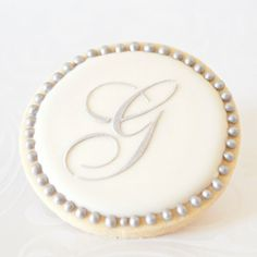 Silver Monogram Letter Wedding Cookie Favors // 1 doz. // Wedding Bridal Shower Vintage Script Initial Letter Personalized on Etsy, $42.50