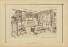 Bureau : bibliothèque, meubles et sièges en bois de chêne naturel. Ferrures cuivre poli. Garniture des sièges velours frappé - ID: 96848 - NYPL Digital Gallery