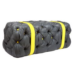 Jaffa Oranges now featured on Fab. [Ottoman, black with yellow straps, Christopher Roy, Why Not Bespoke]