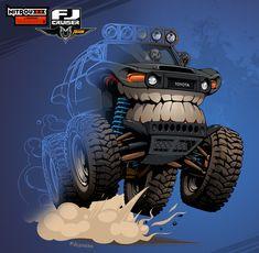 Toyota FJ Cruiser on Behance Fj Cruiser Off Road, Fj Cruiser Mods, 2014 Toyota Fj Cruiser, Monster Car, Monster Trucks, Jeep Drawing, Cool Car Drawings, Toyota Trucks, Gmc Trucks