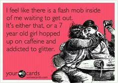 Inside flash mob and glitter